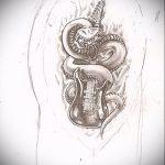 Стильный вариант тату эскиз змеи – можно использовать для тату змеи мужчин