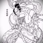 Оригинальный вариант татуировки эскиз змеи – можно использовать для тату змея с розой