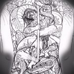 Прикольный вариант тату эскиз змеи – можно использовать для змей картинка тату