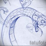 Достойный вариант татуировки эскиз змеи – можно использовать для тату змея на лопатке