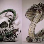 Оригинальный вариант татуировки эскиз змеи – можно использовать для тату змей спине