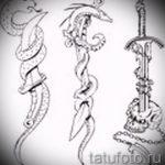 Достойный вариант тату эскиз змеи – можно использовать для тату змей плече