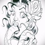 Стильный вариант татуировки эскиз змеи – можно использовать для тату змея с цветами