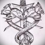 Достойный вариант тату эскиз змеи – можно использовать для тату змей шее