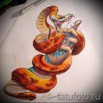 Прикольный вариант тату эскиз змеи – можно использовать для тату змея на бедре