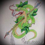Классный вариант татуировки эскиз змеи – можно использовать для тату змея и роза