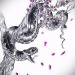 Прикольный вариант тату эскиз змеи – можно использовать для тату змея олдскул