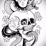 Стильный вариант татуировки эскиз змеи – можно использовать для тату со змеем