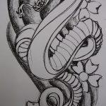 Достойный вариант тату эскиз змеи – можно использовать для тату змея на пальце