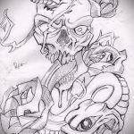 Уникальный вариант татуировки эскиз змеи – можно использовать для тату змей ноге