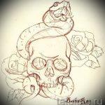 Достойный вариант тату эскиз змеи – можно использовать для тату змея на лопатке