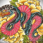 Стильный вариант тату эскиз змеи – можно использовать для тату змея обвивает руку