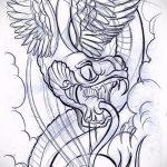 Оригинальный вариант татуировки эскиз змеи – можно использовать для тату змея рукав