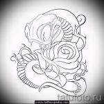 Прикольный вариант татуировки эскиз змеи – можно использовать для тату змея на икре
