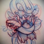 Прикольный вариант татуировки эскиз змеи – можно использовать для тату меч и змея