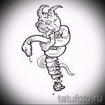Стильный вариант татуировки эскиз змеи – можно использовать для тату змей ноге