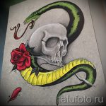 Уникальный вариант татуировки эскиз змеи – можно использовать для тату змея на бедре