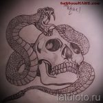 Классный вариант татуировки эскиз змеи – можно использовать для тату змея акварель