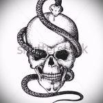 Стильный вариант тату эскиз змеи – можно использовать для змей картинка тату