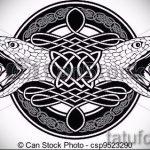 Классный вариант татуировки эскиз змеи – можно использовать для тату змей спине