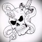 Стильный вариант тату эскиз змеи – можно использовать для тату змея с цветами