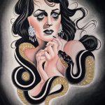 Уникальный вариант тату эскиз змеи – можно использовать для тату змеи мужчин