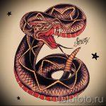 Стильный вариант татуировки эскиз змеи – можно использовать для тату змея олдскул