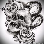 Достойный вариант тату эскиз змеи – можно использовать для тату змея на кисти