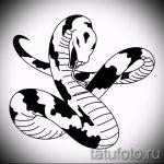 Интересный вариант татуировки эскиз змеи – можно использовать для тату змея на бедре