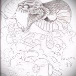 Прикольный вариант тату эскиз змеи – можно использовать для тату змея вокруг руки
