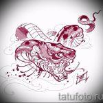 Интересный вариант тату эскиз змеи – можно использовать для тату змея рукав