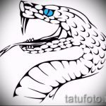 Оригинальный вариант татуировки эскиз змеи – можно использовать для тату змей шее