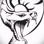 Прикольный вариант татуировки эскиз змеи – можно использовать для тату змея на пальце