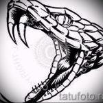 Стильный вариант тату эскиз змеи – можно использовать для тату змей спине