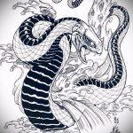 Классный вариант татуировки эскиз змеи – можно использовать для голова змеи тату
