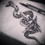 Уникальный вариант тату эскиз змеи – можно использовать для тату змея на икре