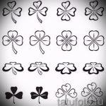 Интересный вариант татуировки эскизы клевер – можно использовать для тату клевер четырехлистный подкова