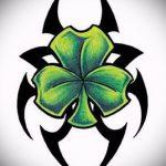 Интересный вариант татуировки эскизы клевер – можно использовать для корона клевером тату
