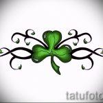 Интересный вариант татуировки эскизы клевер – можно использовать для тату белый клевер