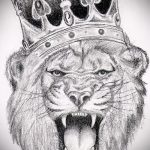 Стильный вариант татуировки эскиз лев с короной – можно использовать для тату лев с короной для мужчин