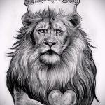 Интересный вариант тату эскиз лев с короной – можно использовать для тату лев с короной на ноге