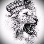 Прикольный вариант татуировки эскиз лев с короной – можно использовать для тату лев с короной реализм