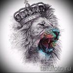 Классный вариант тату эскиз лев с короной – можно использовать для тату лев с короной рука