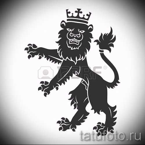 Интересный вариант татуировки эскиз лев с короной – можно использовать для тату лев с короной на предплечье
