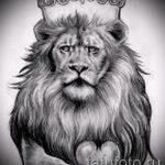 Стильный вариант тату эскиз лев с короной – можно использовать для тату лев с короной на плечо