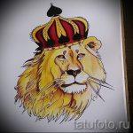 Классный вариант тату эскиз лев с короной – можно использовать для тату лев с короной и цветами
