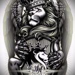 Оригинальный вариант тату эскиз лев с короной – можно использовать для тату голова льва короной