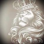Оригинальный вариант татуировки эскиз лев с короной – можно использовать для тату лев с короной в бок