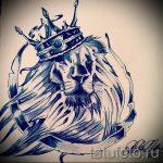 Интересный вариант тату эскиз лев с короной – можно использовать для тату лев с короной у девушки