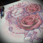Стильный вариант тату эскиз лев с короной – можно использовать для тату лев с короной и цветами